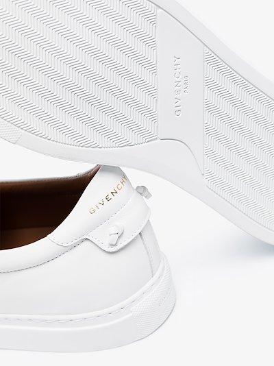 white logo webbing leather sneakers