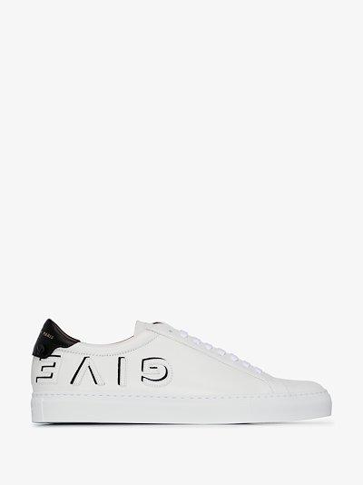 white Urban Street reverse logo leather sneakers
