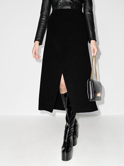 wool wrap midi skirt