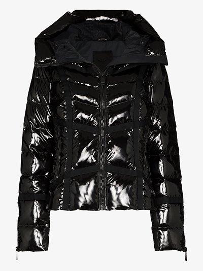 Mirror high shine quilted ski jacket