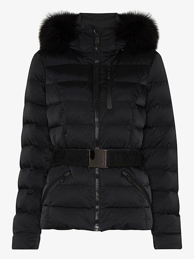 Soldis belted faux fur ski jacket