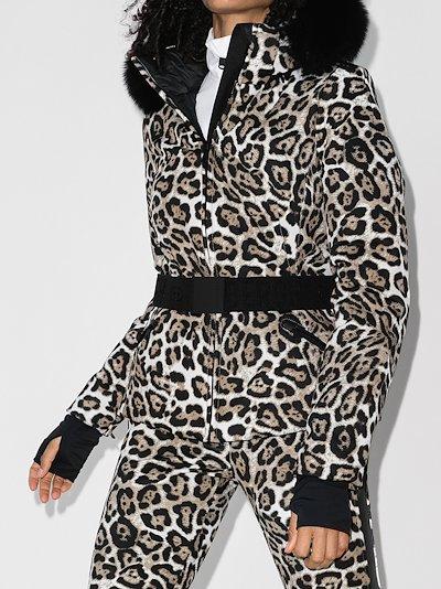 Wild Leopard print faux fur trim ski jacket