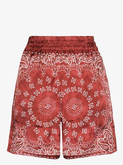 bandana print satin shorts