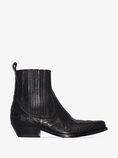 black Santiago 44 Western ankle boots