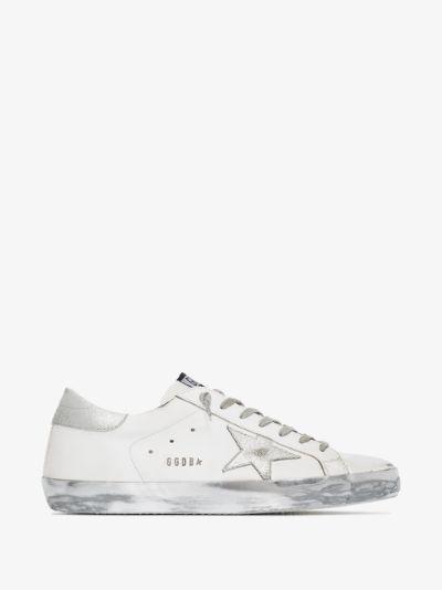 White Super-star Metallic Leather Sneakers
