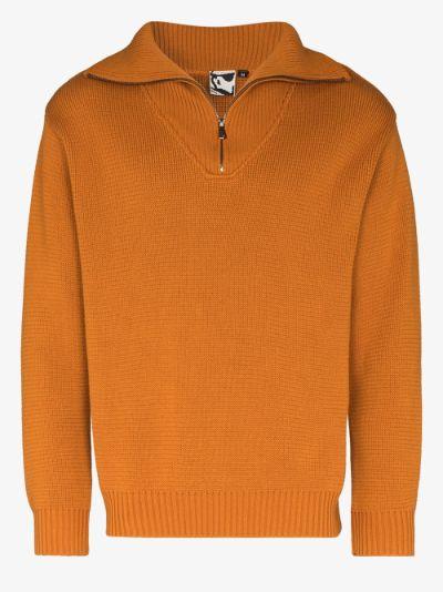 Anti half-zip cotton sweater