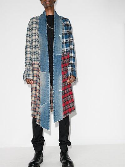 arts district check cotton kimono coat