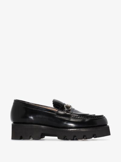black blossom flatform leather loafers