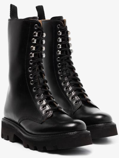 Black Mavis Lace-Up Leather Boots