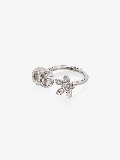 18K white gold G flower open diamond ring