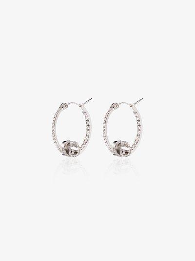 18K white gold Running diamond hoop earrings