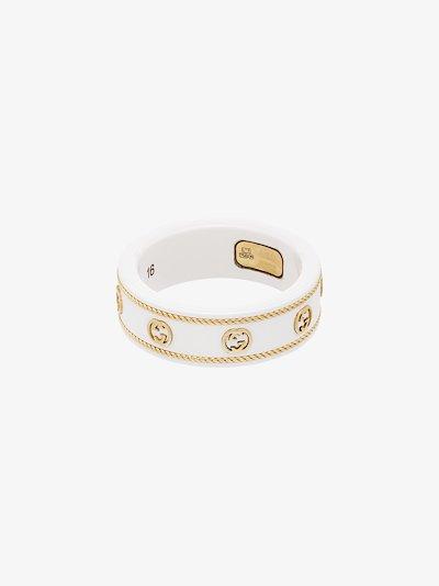 18K yellow gold GG logo ring