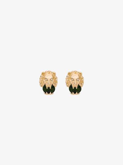 18K yellow gold lion head diamond earrings