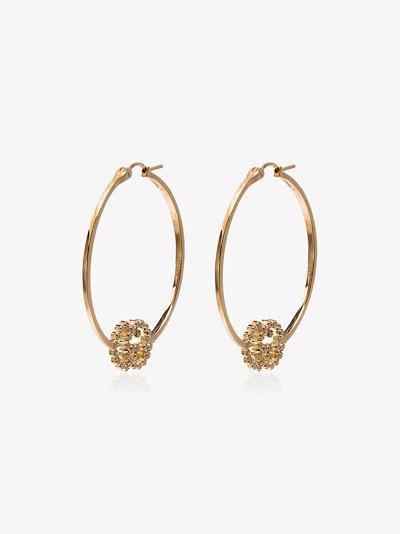 18K Yellow Gold logo hoop diamond earrings