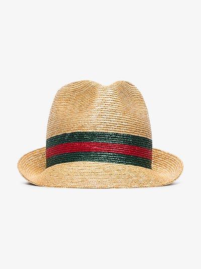 beige Web stripe trilby hat
