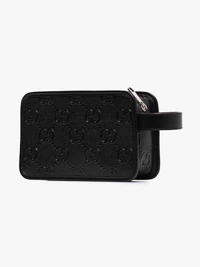 black GG embossed leather washbag