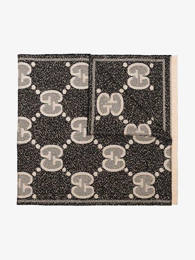 black GG logo jacquard wool scarf