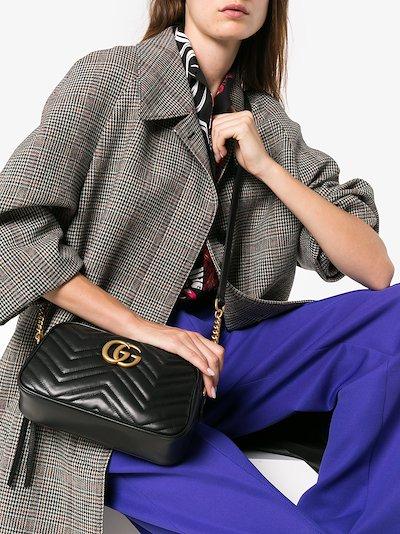 Black GG Marmont leather camera bag