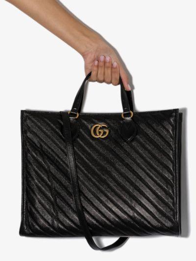 black GG Marmont medium leather tote bag