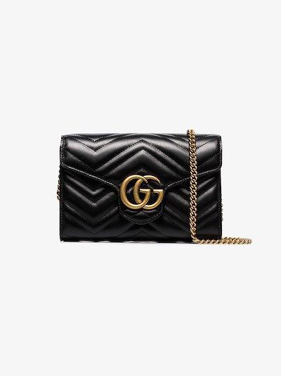 Black GG Marmont mini leather shoulder bag