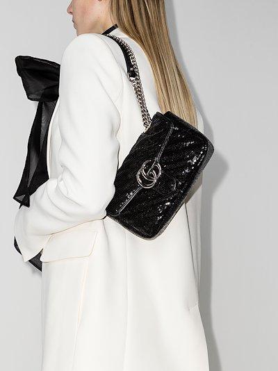 black GG Marmont mini sequin shoulder bag