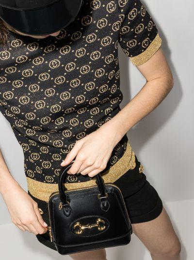Black Horsebit 1955 Leather Top Handle Bag