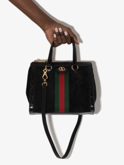 black Ophidia suede mini tote bag