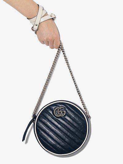 blue GG Marmont round leather mini bag