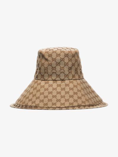brown GG Supreme canvas wide brim hat