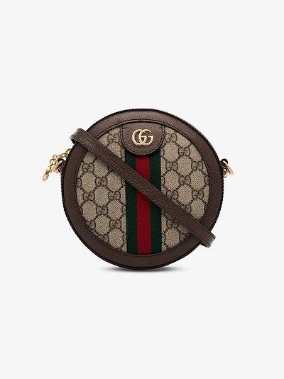 Brown Ophidia GG Supreme round mini bag