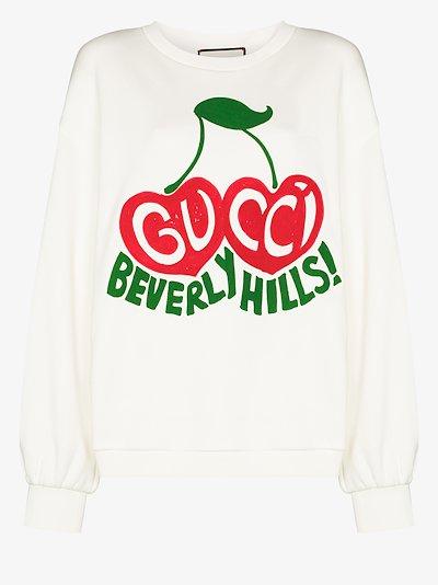 cherry print cotton sweatshirt