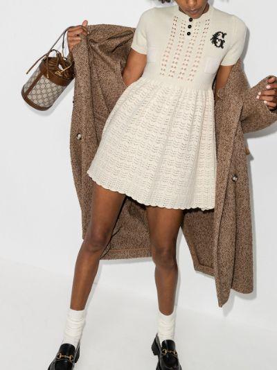 crochet knit mini dress