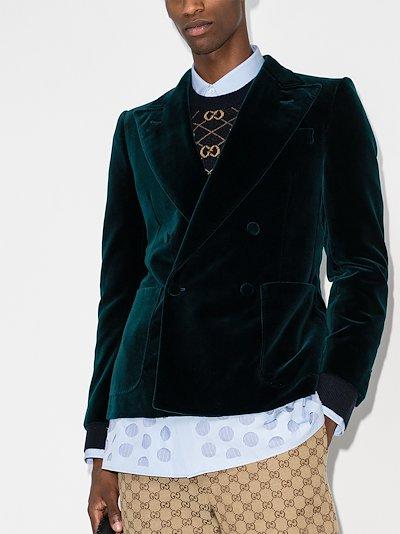 double-breasted velvet blazer