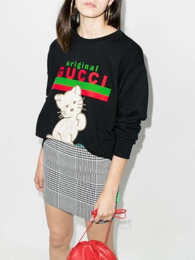 embroidered cat logo sweatshirt