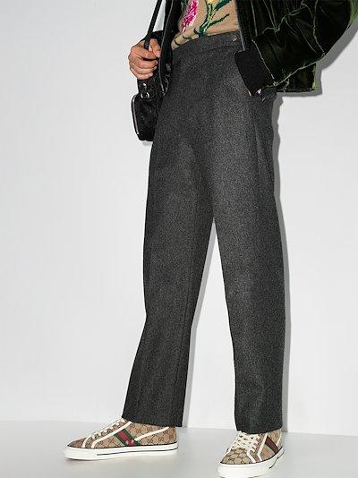 embroidered mushroom wool trousers