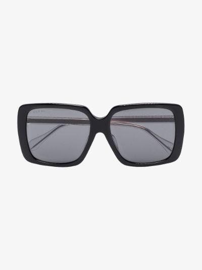 black crystal square tinted sunglasses