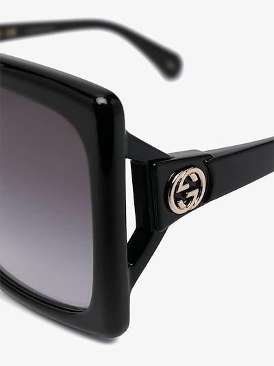 Black GG square frame sunglasses