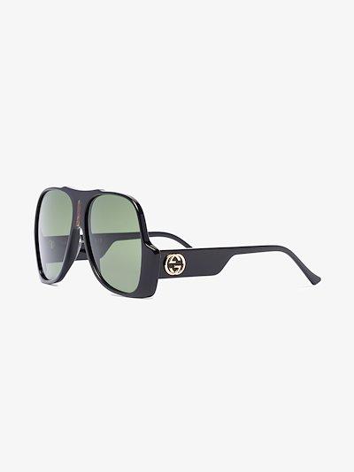 black oversized aviator sunglasses