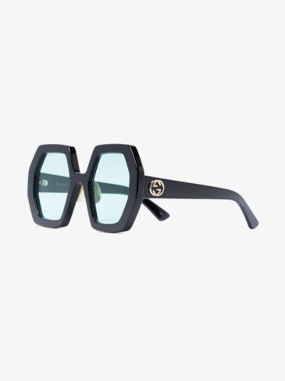 black oversized hexagonal sunglasses