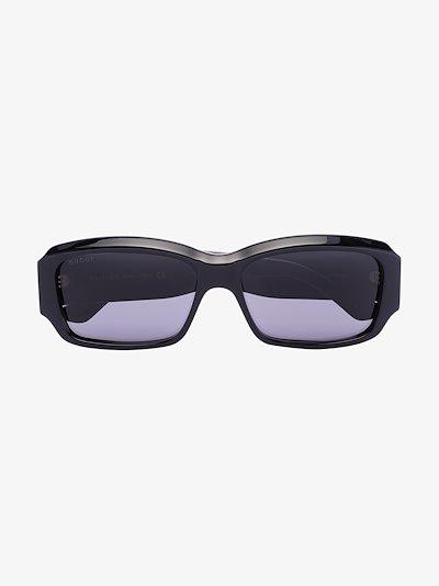 black rectangular frame sunglasses