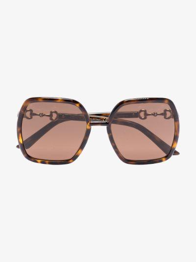 brown oversized Horsebit detail square sunglasses