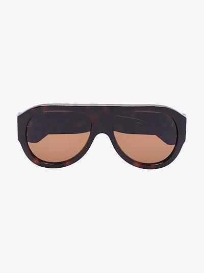 Brown tortoiseshell effect aviator sunglasses