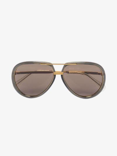 gold tone and grey aviator sunglasses
