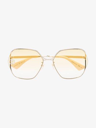 gold tone Fork square frame sunglasses