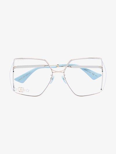 gold tone Fork square optical glasses