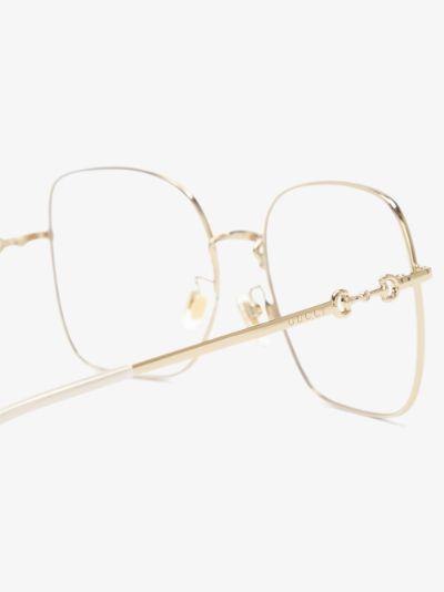 Gold tone square frame optical glasses