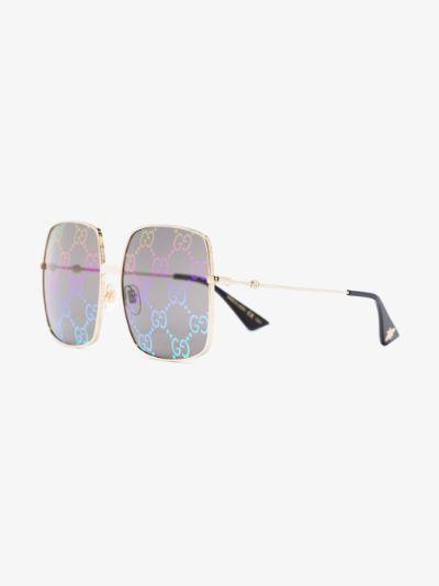 Multicoloured GG Logo Print Square Sunglasses