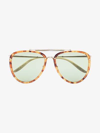 neutral tortoiseshell aviator sunglasses