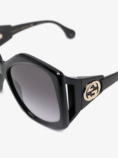 oversized heptagon-frame sunglasses