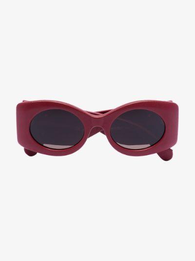 red matelassé oval sunglasses
